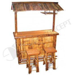 BFS-13017 - Bamboo outdoor furniture - Bamboo Tiki Bar Set with Stools