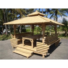GB201-Bamboo Gazebo-Garden Bamboo Gazebo with Bamboo Roof,1 Table inside