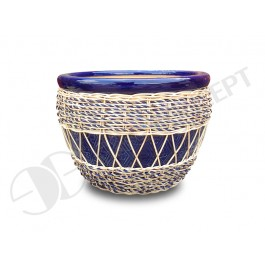 WP-13048-B-Woven rattan pots - Ceramic flowers planters woven with rattan