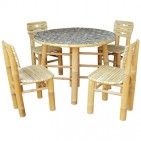 BDS1001-Bamboo Dining Set-Bamboo Dining Set with Round Table