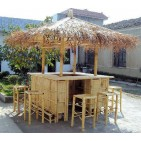 BFS-13016 - Bamboo outdoor furniture - Bamboo Island Tiki Bar & Stools Set in Natural Finish