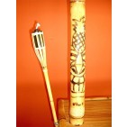 BFS-13018 - Outdoor bar - Island Tiki Bamboo Bar with Two Stools and Two Torches