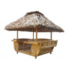 GB204-Bamboo Gazebo-Garden Bamboo Gazebo with Thatch Roof, 1 Table Inside