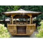 GB202-Bamboo Gazebo-Bamboo Square Gazebo with Coconut Leaves Roof