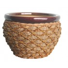 PT001 - DECORATIVE CERAMIC PLANTERS WITH WEAVING RATTAN