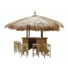 BTB103-Bamboo Tiki Bar- Bamboo Island Tiki Bar with Stool set in Natural finishing