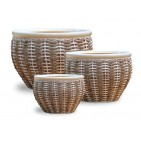 V01-2282 - Weaving Ceramic Pot with Rattan, water hyacinth and Seagrass