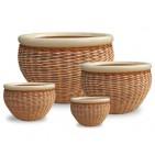 WP-13006 - Vietnam decorative ceramic pots - Set of 4 Ceramic rattan woven pots