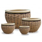 WP13015 - Home Decorators - Ceramic planters with rattan and seagrass weaving
