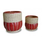 WP-13028-A - Hand Woven Planters - Set of 2 ceramic pots with rattan and seagrass weaving