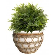 PT002 - CERAMIC PLANTERS WITH RATTAN, SEAGRASS WEAVING