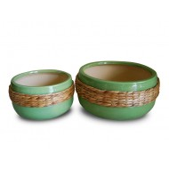 WP-13023-A - Hand woven planter - Ceramic planters with water hyacinth
