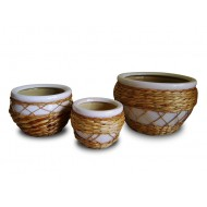 WP-13033-A - Vietnam garden supplies - Set of 3 Ceramic pots with rattan and water hyacinth weaving