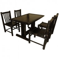 BDS1011-Bamboo Dining Set-Black Bamboo Dining Set