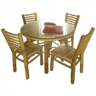 BDS1014-Bamboo Dining Set-Indoor Bamboo Dining Set with Round Table