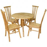 BDS1015-Bamboo Dining Set-Outdoor Bamboo Dining Set with Round Table