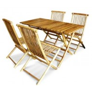 BDS1017-Bamboo Dining Set-Bamboo Dining Set with Rectangular Folding Table and Folding Chair