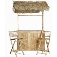 BFS-13015 - Bamboo furniture - Bamboo Bar with Thatched Roof and Two Bar Stools Set