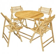 BDS1002-Bamboo Dining Set-Bamboo Dining Set with Round Folding Table and Folding Chair