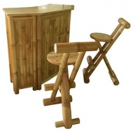BTB113-BambooTiki Bar-Bamboo Bar Counter Set with 2 Stools