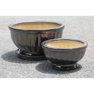 CP-13003-2A-Set of 2 glazed ceramic garden flower pots