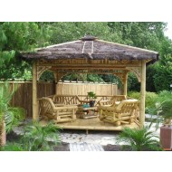 GB203-Bamboo Gazebo-Bamboo House with Thatch Roof