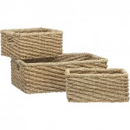 RLB13008 - Rattan Storage - Set of 3 Low Water Hyacinth Woven Basket