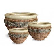 WP-13070-3A - Hand Woven Planter - Set of 3 Ceramic pots with rattan and water hyacinth weaving