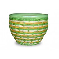 WP-13068-3A - Home Decorators - Set of 3 Ceramic pots covered with poly rattan weaving