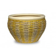 WP -13072-3A - Hand Woven Planter - Set of 3 Ceramic pots covered with rattan and water hyacinth weaving