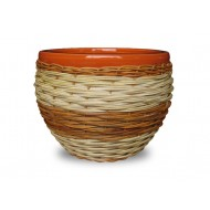 WP-13066-3A - Ceramic pots with rattan weaving