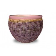 WP-13064 - Hand Woven Planter - Set of 3 Ceramic planters with rattan and water hyacinth weaving