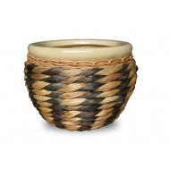 WP-13062-3A - Hand woven planter - Set of 3 Ceramic planters with rattan and water hyacinth weaving