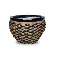 WP-13063-3A - Home and Garden Supplies - Ceramic planters with rattan, seagrass and water hyacinth weaving