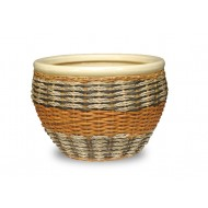WP-13061-3A - Home and Garden Supplies - Set of 3 Ceramic planters with rattan and water hyacinth weaving