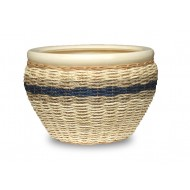 WP-13060-3A - Vietnam Wholesale Pottery - Set of 3 Ceramic planters with rattan and seagrass weaving