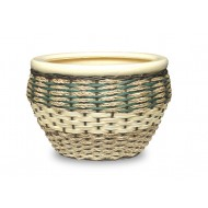 WP-13059-3A - Home and Garden Supplies - Ceramic planters with poly rattan and seagrass weaving