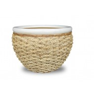 WP-13056-3A - Hand woven planter - Ceramic planters with rattan and water hyacinth weaving