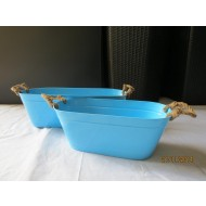 OZB01 - Oval Zinc Bucket with natural handle