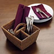 RHB13012 - Wholesale Wicker Baskets - Rattan Flatware Caddy