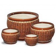 WP-13001 - Woven Rattan Pots - Ceramic Pot with Rattan