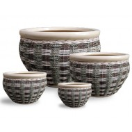 WP-13002 - Wholesale Rattan Pots - Woven Ceramic Pot with Rattan