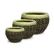 WP-13003 - Vietnam Garden Supplies - Woven Ceramic Pot with Rattan, water hyacinth and Seagrass