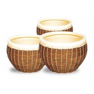 WP-13004 - Wholesale ceramic pots - Set of 3 Ceramic seagrass, water hyacinth woven pots