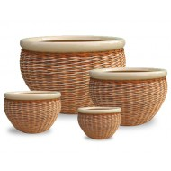 WP-13006 - Vietnam decorative ceramic pots - Set of 4 Ceramic rattan woven pots