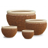 WP-13007- Wholesale rattan pots - Set of 4 Ceramic seagrass, water hyacinth woven pots