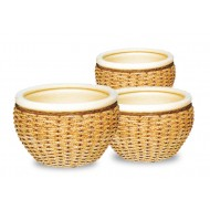 WP13008 - Wholesale ceramic planters - Set of 3 Ceramic seagrass, woven water hyacinth pots