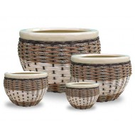 WP-13009-Woven Seagrass Pots- Set of 4 Ceramic seagrass, water hyacinth woven pots