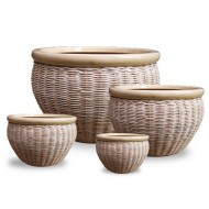 WP13010 - Home Decorators - Set of 4 Ceramic seagrass, water hyacinth woven planters