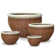 WP13011 - Hand Woven Planter - Set of 4 Ceramic rattan woven planters